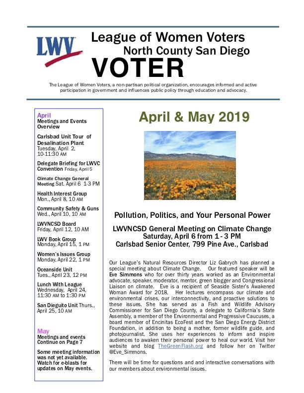 April/May 2019 LWVNCSD VOTER Newsletter