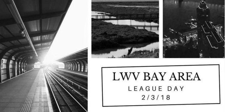 LWV Bay Area League Day graphic with transportation images