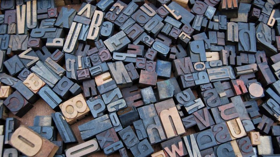 photo of old fashioned typeset letters