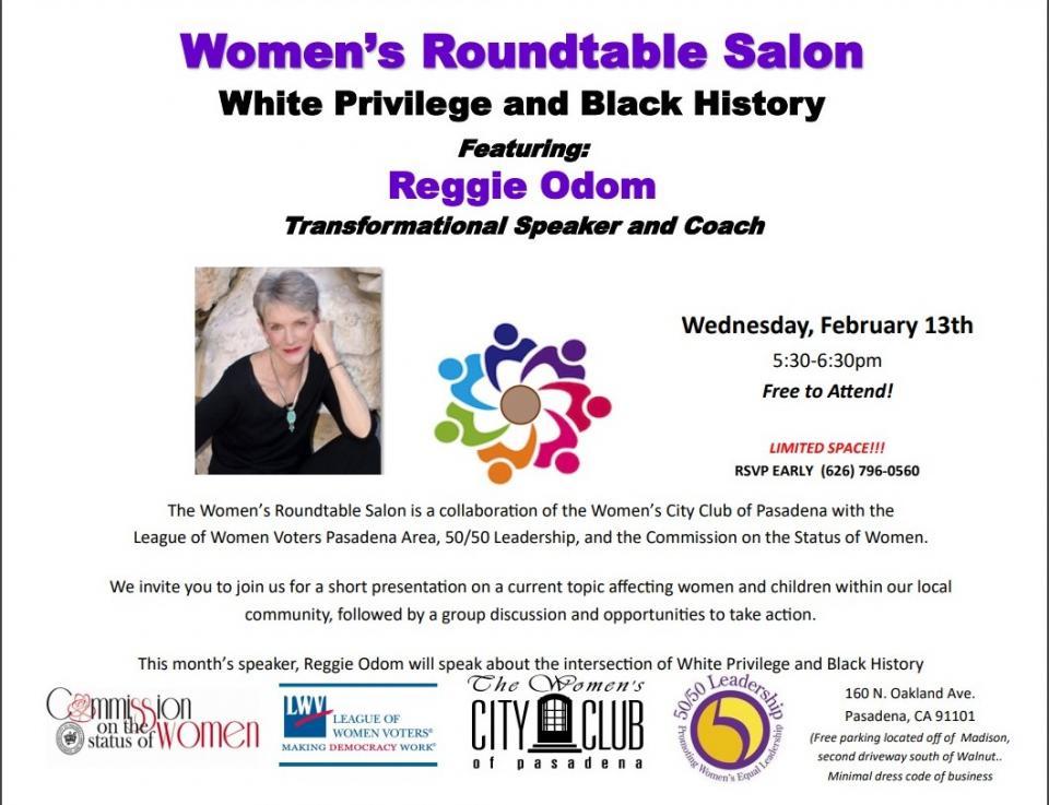 Women's Round Table Salon White Privilege and Black History