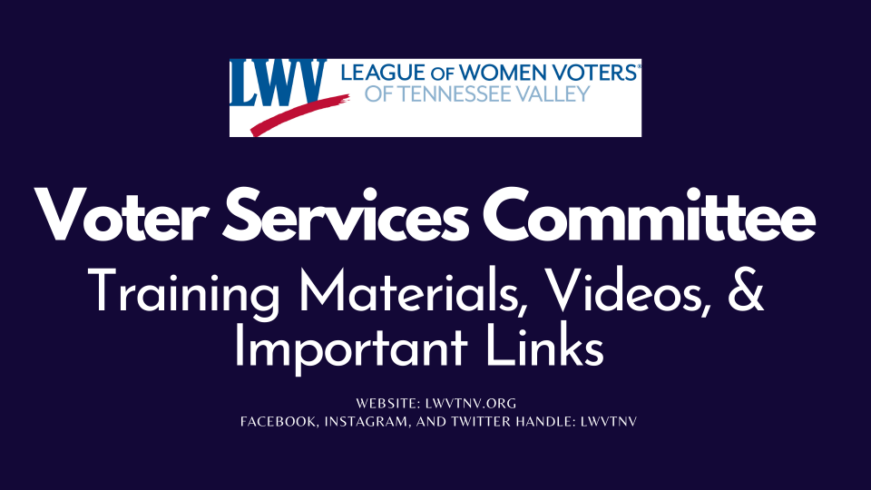 Voter Services Committee - Training materials