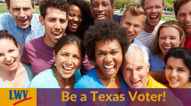 Graphic a group of people and  Be a Texas Voter