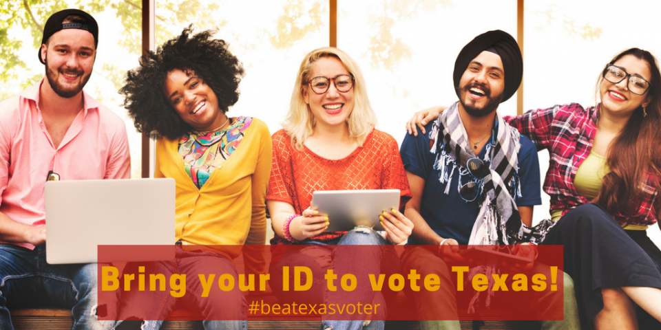 Group of folks bring your ID to vote Texas!
