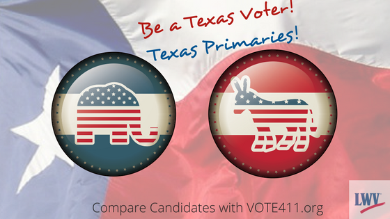 Republican and Democrat buttons. Be a Texas Vote in the Texas Primaries