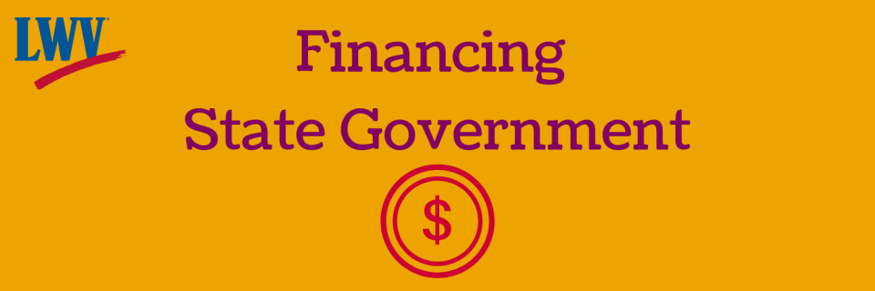 Graphic Financing state government with a money symbol