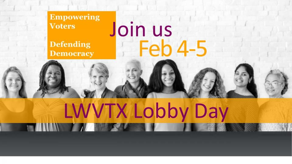 Women in a line with graphic for Lobby Day