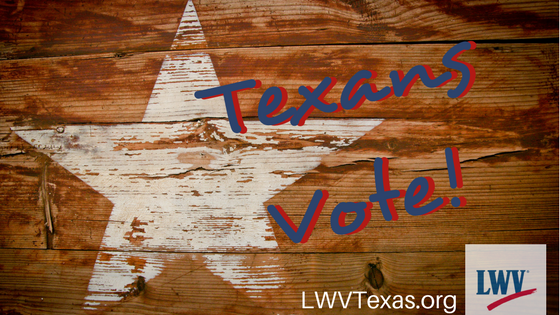 Star with words Texans Vote!