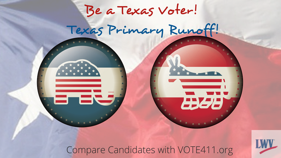 Texas Primary Runoff Election graphic with elephant and donkey