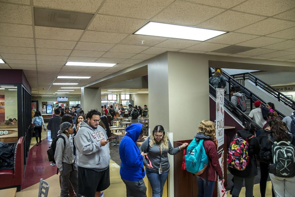 Texas State Students in line to vote