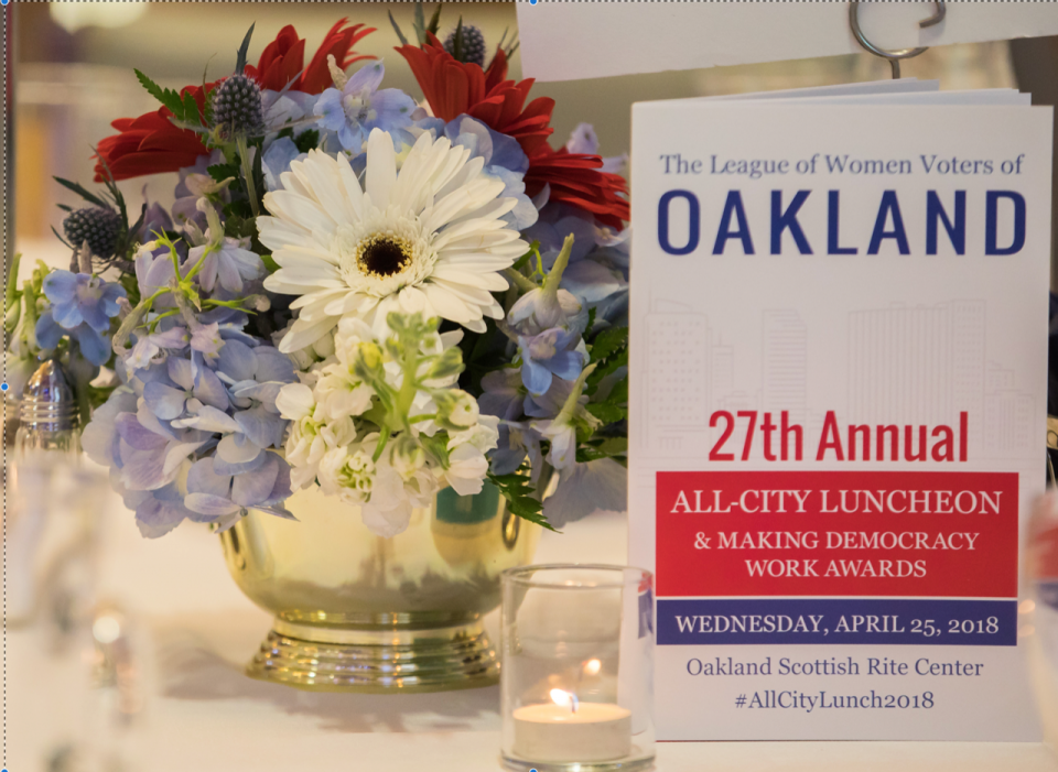 2018 Luncheon flowers and brochure