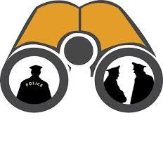 graphic of binoculars with figures in the lenses