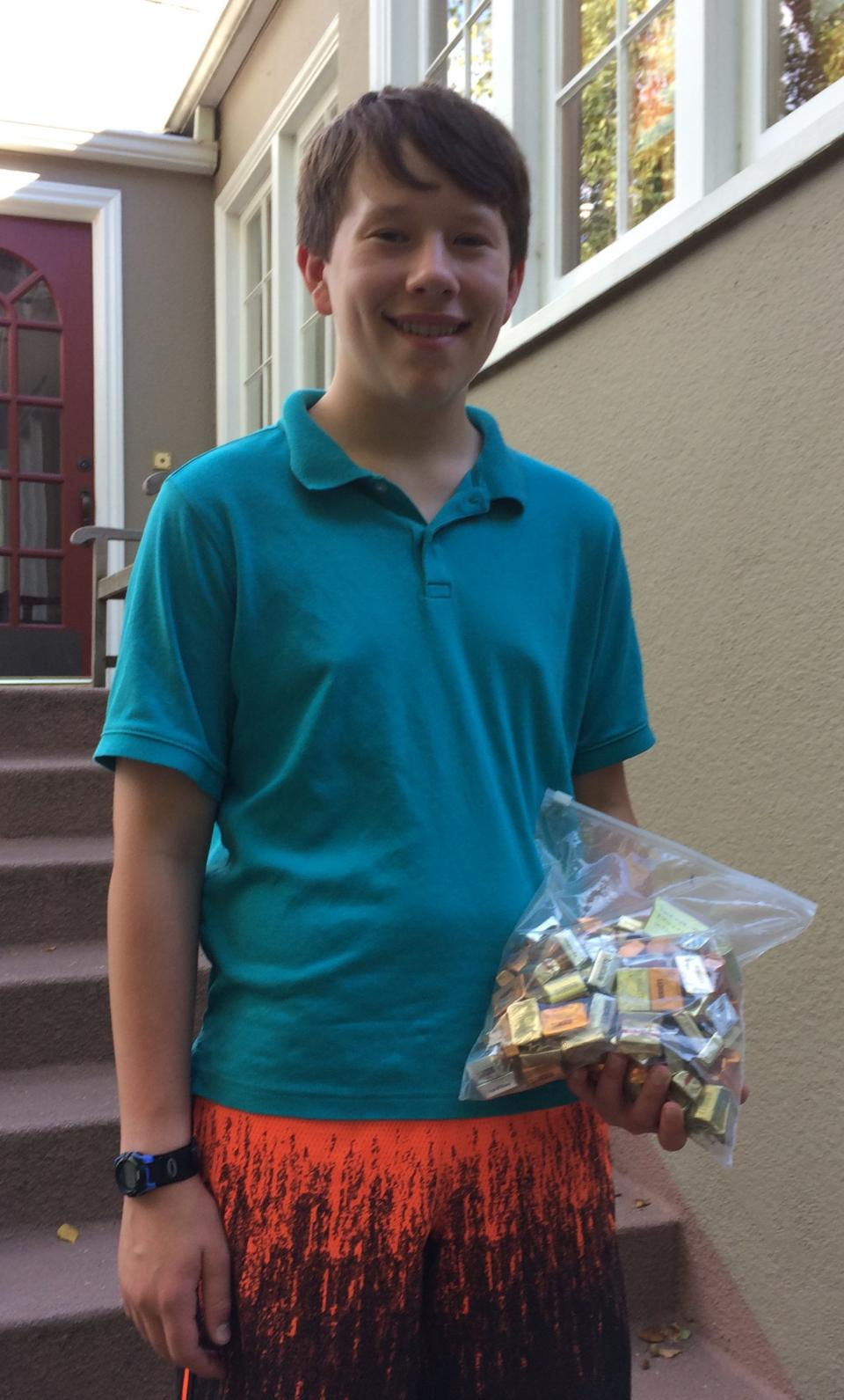 Jeff Kobal with candy from 4th of July contest