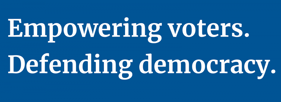 Graphic with empowering voters. Defending democracy