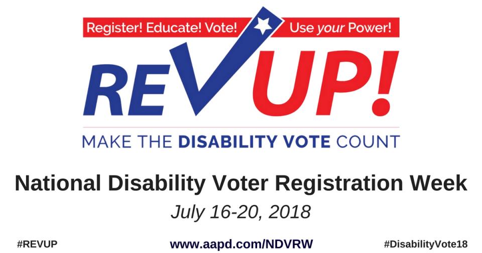 Rev Up National Disability Registration Week graphic
