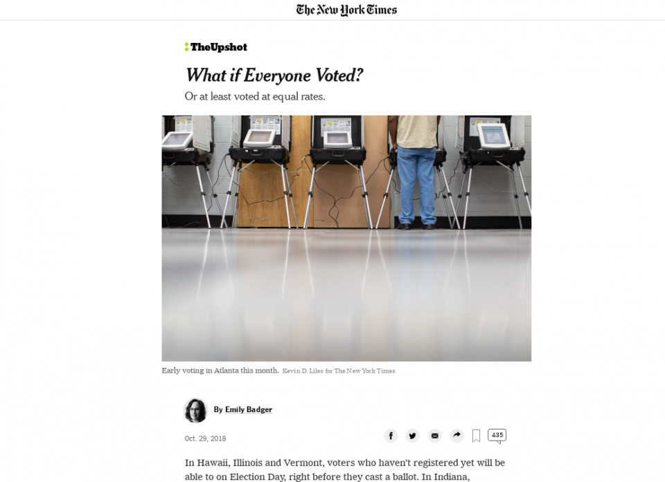 Screenshot of NYT article exploring what if everyone voted