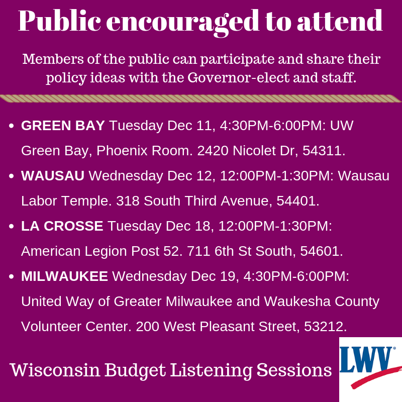 Gov Elect Listen Session Announcement Dates and Location