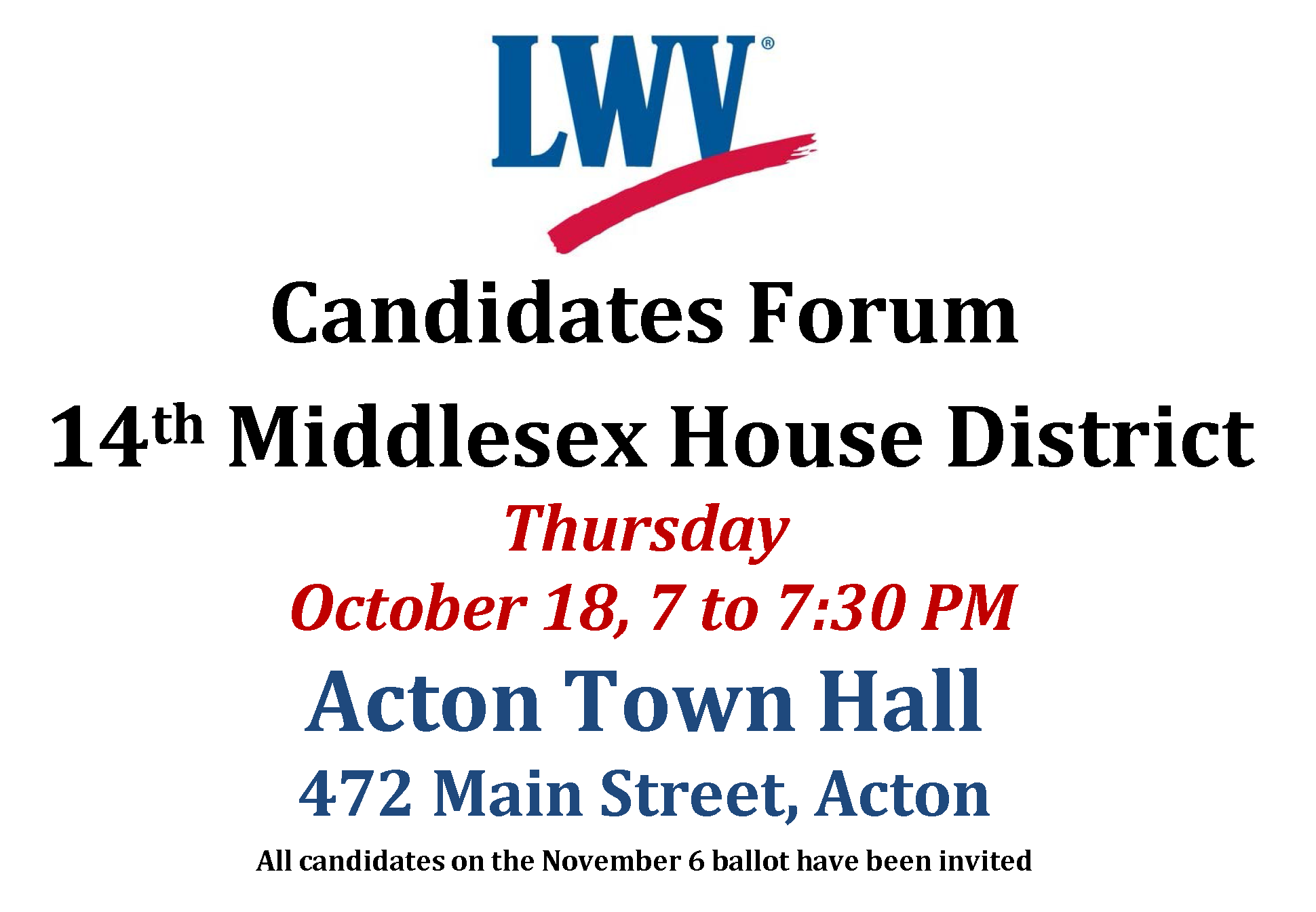 Candidates Forum 14th Middlesex Oct 18 2018 flyer