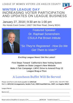 Increasing voter participation and updates on league business