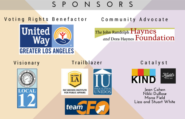 United Way GLA, Haynes Foundation, Local 12, Cal State LA Part Brown Institute, Inquilinos Unidos, Team CFO, Kind, Kiehl's