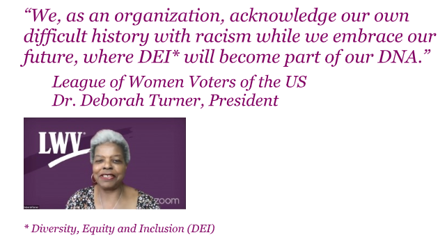 Statement and Picture of LWV President Deborah Turner about racism