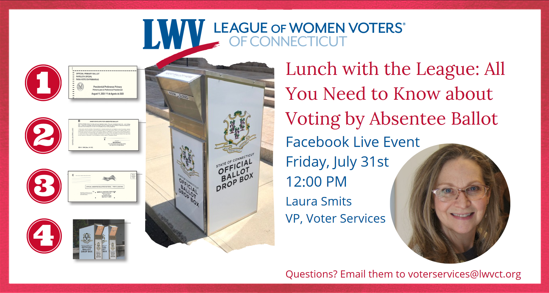 Lunch with the League All You Need to Know About Voting by Absentee Ballot July 31 Event Image