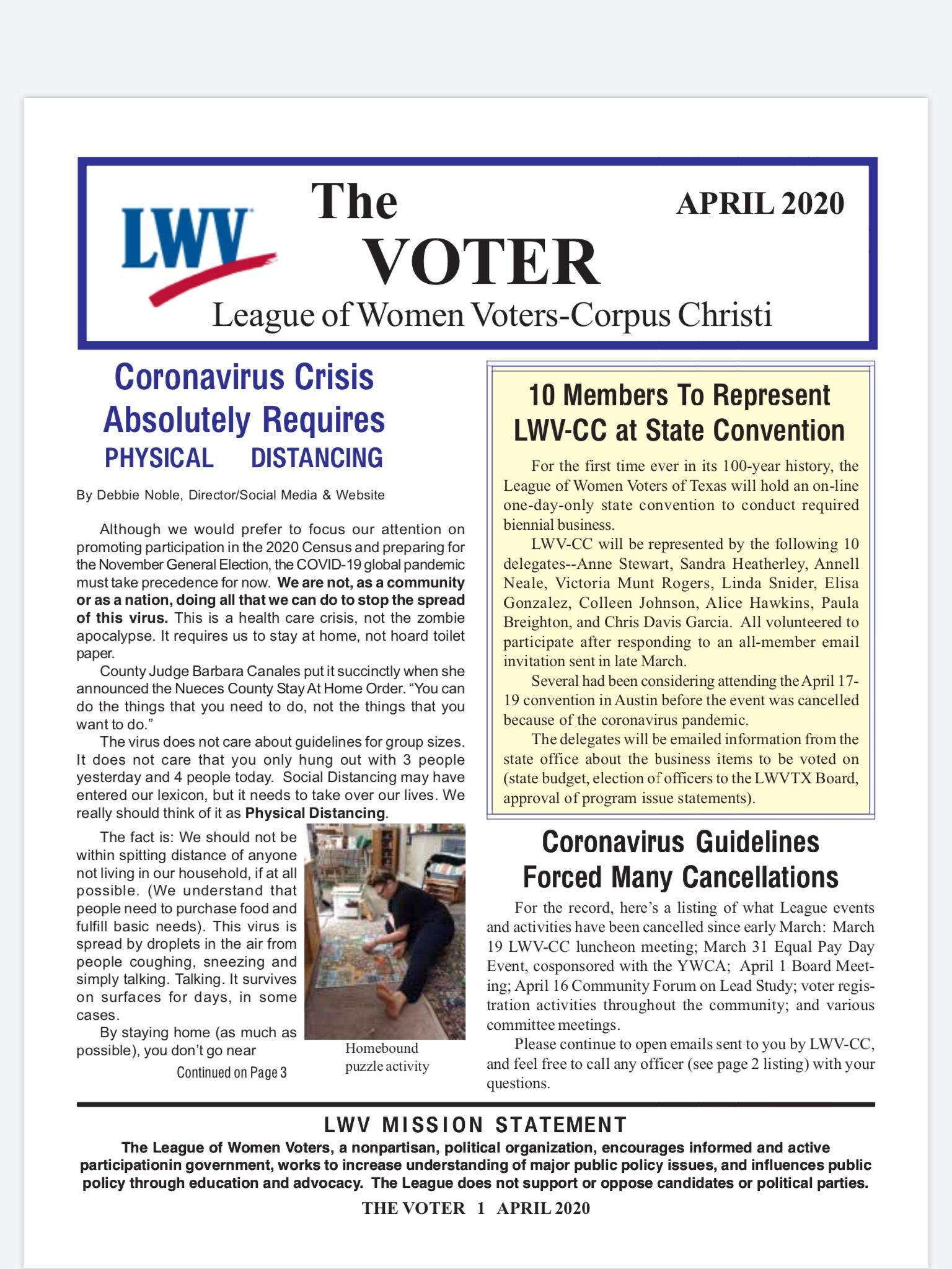 Cover of April 2020 newsletter