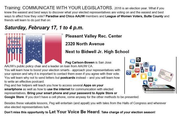 Communicate with your Legislators Event Flyer