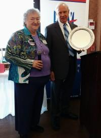 Photo of Dr. Alan Cowles and League President Marlene Merrill