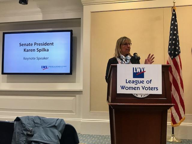 Senate President, Karen Spilka, speaking to League members at Day on the Hill event.