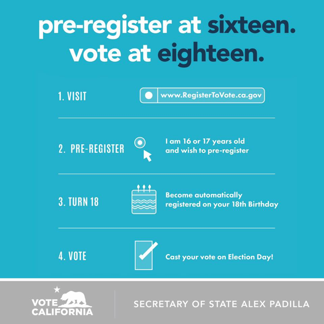 graphic of instructions to register to vote in CA