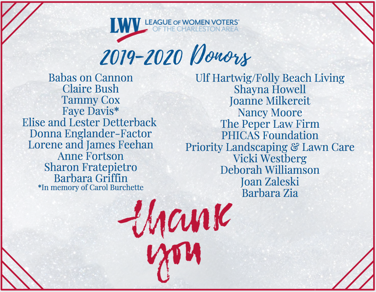 2019-2020 List of LWVCA Donors