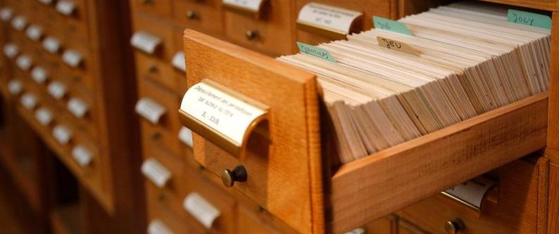 photo of an open drawer of a card catalog