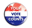 YOUR VOTE COUNTS (with flag pattern on face of button)