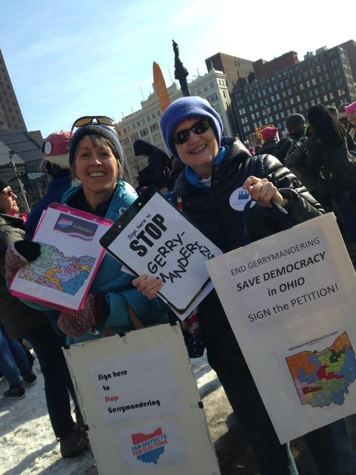 Cleveland League members with signs to stop gerrymandering