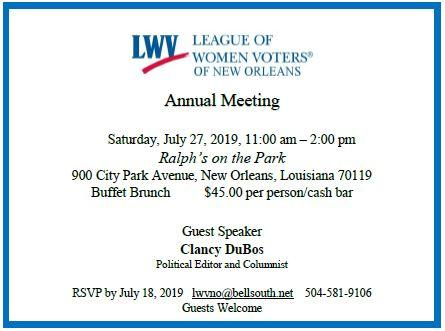 LWV New Orleans Annual Meeting Invitation