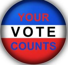 Red, white and blue button with logo of Your Voter Counts