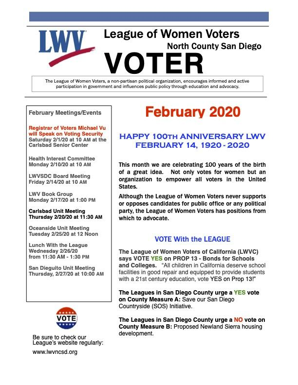 Front Page of LWVNCSD VOTER Newsletter Jan 2020