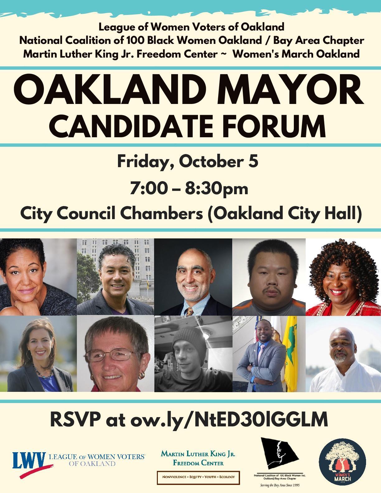 Flier for mayoral forum