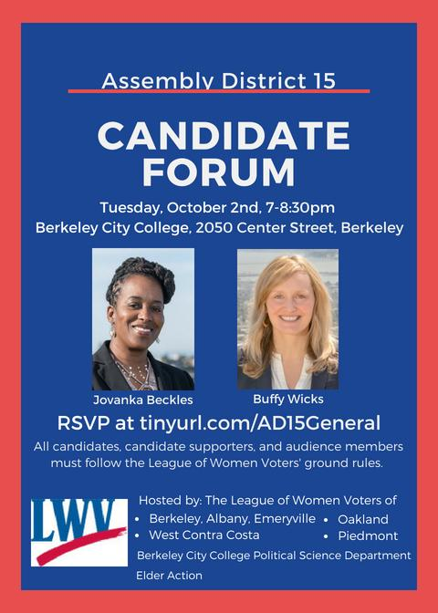Flyer for AD15 Candidate Forum