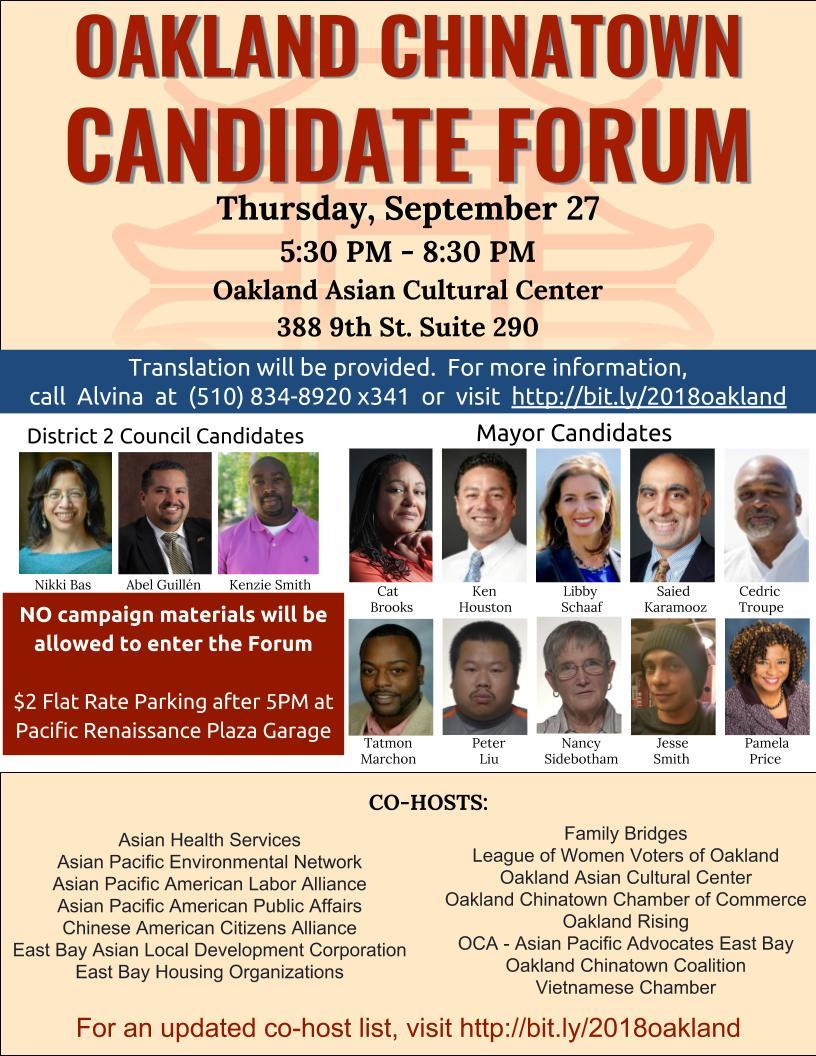 Flier for mayoral forum Chinatown