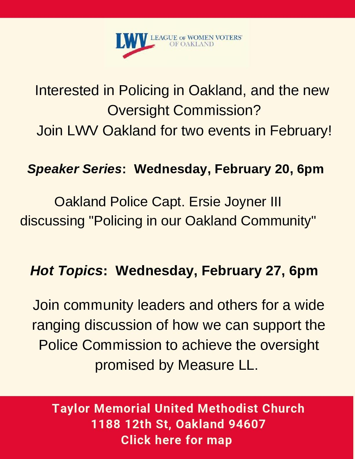Flyer Oakland Police Commission Speaker and Hot Topics