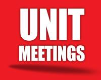 Unit Meetings graphic text (white block letters on red background)