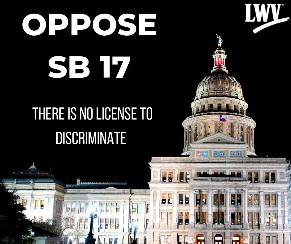 Texas Capitol in the dark. Oppose SB 17.  There is no license to discriminate!