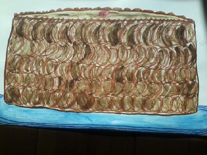 Naive drawing chocolate cake big