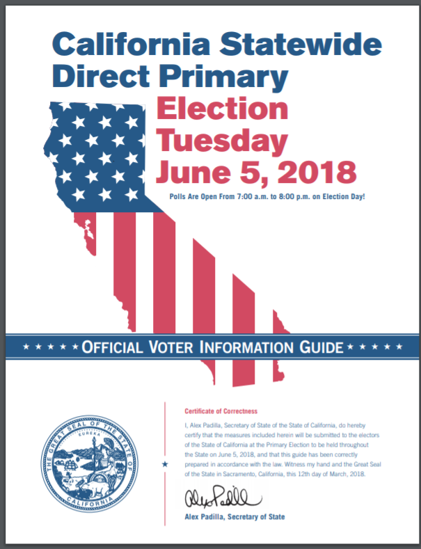 Cover of the Official Voter Information Guide for June 5, 2018