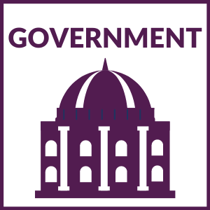"""square graphic that says """"GOVERNMENT"""" with a government building below."""
