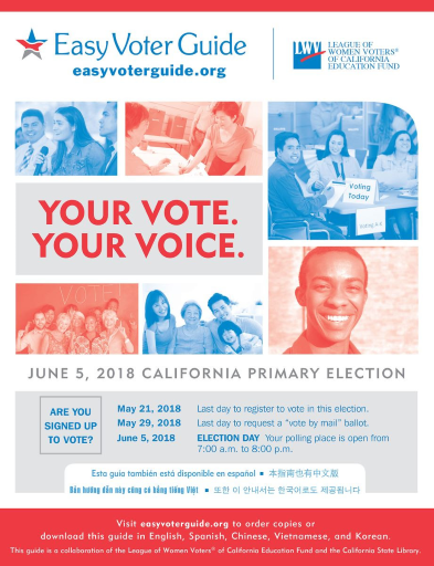 Cover of League Easy Voter Guide for June 2018