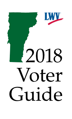 2018 Voter Guide with silhouette of Vermont in Green and League of Women Voters open Logo