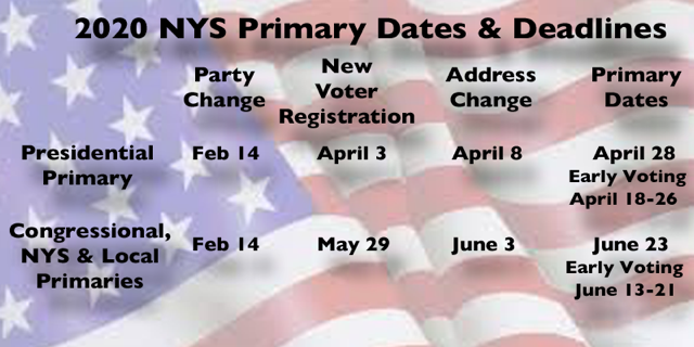 Upcoming NYS Registration Deadlines and Voting Dates