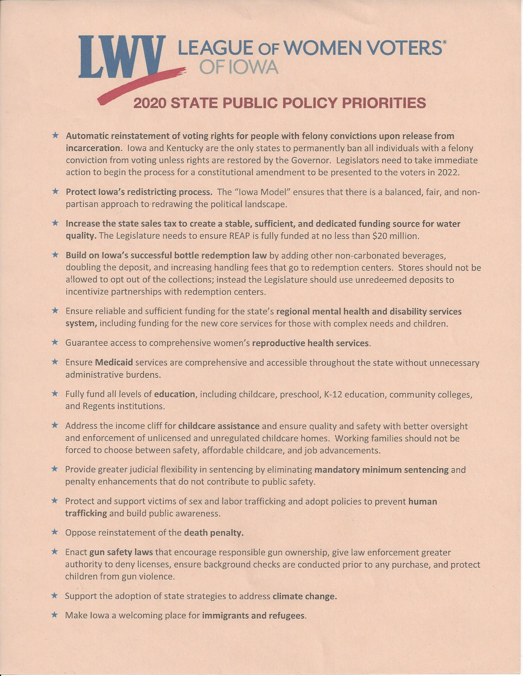 2020 League of Women Voters Iowa Legislative Priorities